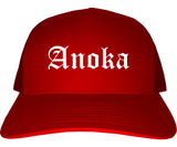 Anoka Minnesota MN Old English Mens Trucker Hat Cap Red
