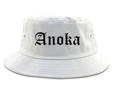 Anoka Minnesota MN Old English Mens Bucket Hat White