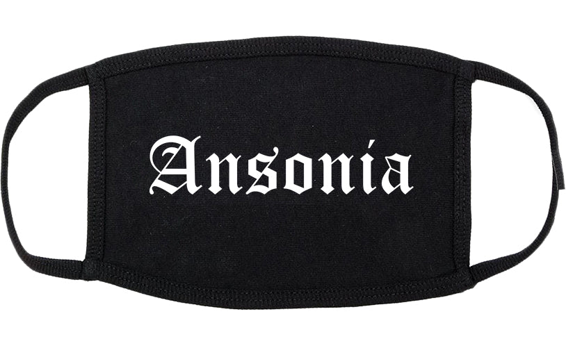 Ansonia Connecticut CT Old English Cotton Face Mask Black