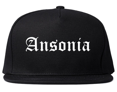 Ansonia Connecticut CT Old English Mens Snapback Hat Black
