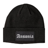 Ansonia Connecticut CT Old English Mens Knit Beanie Hat Cap Black