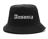Ansonia Connecticut CT Old English Mens Bucket Hat Black