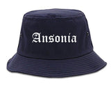 Ansonia Connecticut CT Old English Mens Bucket Hat Navy Blue