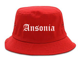 Ansonia Connecticut CT Old English Mens Bucket Hat Red