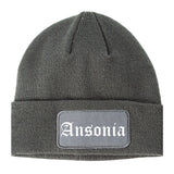 Ansonia Connecticut CT Old English Mens Knit Beanie Hat Cap Grey