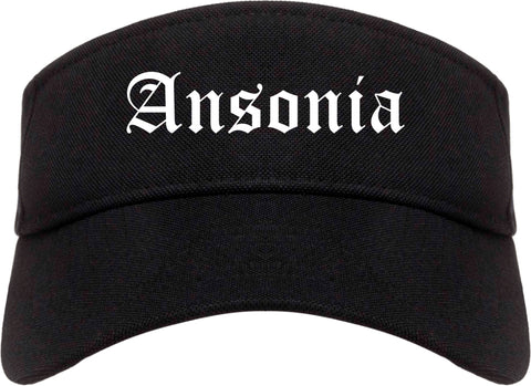 Ansonia Connecticut CT Old English Mens Visor Cap Hat Black