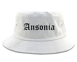 Ansonia Connecticut CT Old English Mens Bucket Hat White