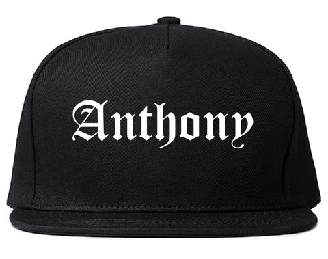 Anthony Texas TX Old English Mens Snapback Hat Black