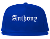 Anthony Texas TX Old English Mens Snapback Hat Royal Blue