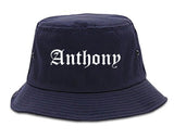 Anthony Texas TX Old English Mens Bucket Hat Navy Blue