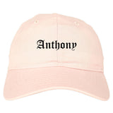 Anthony Texas TX Old English Mens Dad Hat Baseball Cap Pink