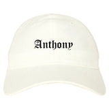 Anthony Texas TX Old English Mens Dad Hat Baseball Cap White