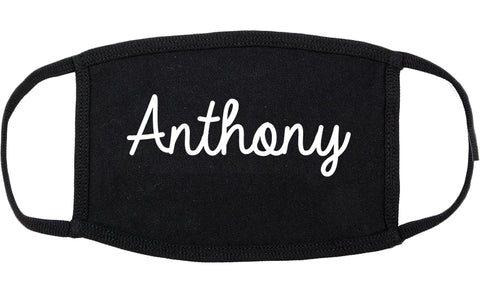 Anthony Texas TX Script Cotton Face Mask Black