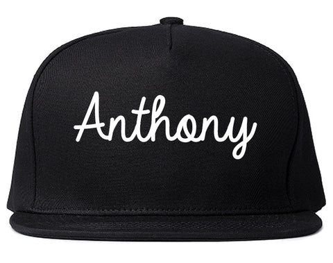 Anthony Texas TX Script Mens Snapback Hat Black