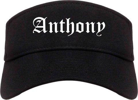 Anthony Texas TX Old English Mens Visor Cap Hat Black