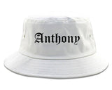 Anthony Texas TX Old English Mens Bucket Hat White