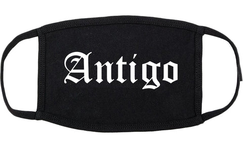 Antigo Wisconsin WI Old English Cotton Face Mask Black