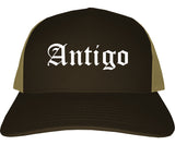 Antigo Wisconsin WI Old English Mens Trucker Hat Cap Brown