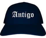 Antigo Wisconsin WI Old English Mens Trucker Hat Cap Navy Blue