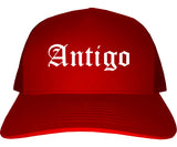 Antigo Wisconsin WI Old English Mens Trucker Hat Cap Red