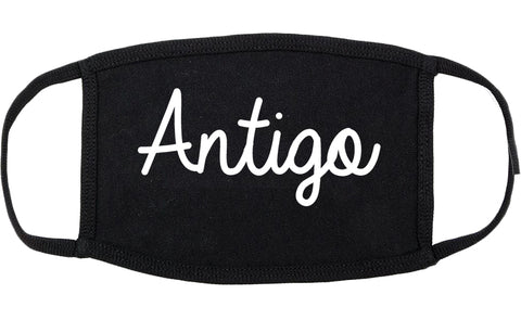Antigo Wisconsin WI Script Cotton Face Mask Black