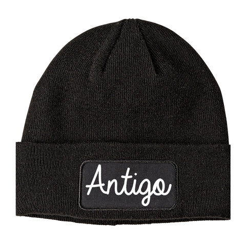 Antigo Wisconsin WI Script Mens Knit Beanie Hat Cap Black