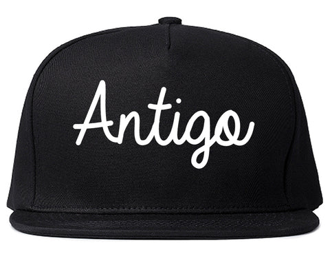 Antigo Wisconsin WI Script Mens Snapback Hat Black