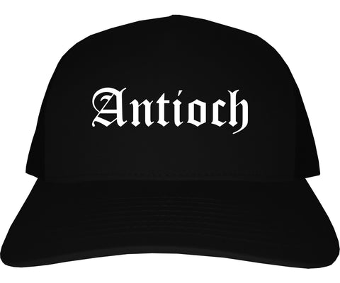 Antioch Illinois IL Old English Mens Trucker Hat Cap Black