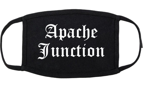 Apache Junction Arizona AZ Old English Cotton Face Mask Black