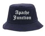 Apache Junction Arizona AZ Old English Mens Bucket Hat Navy Blue