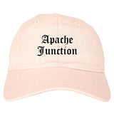 Apache Junction Arizona AZ Old English Mens Dad Hat Baseball Cap Pink