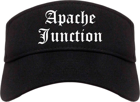 Apache Junction Arizona AZ Old English Mens Visor Cap Hat Black