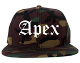 Apex North Carolina NC Old English Mens Snapback Hat Army Camo