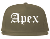 Apex North Carolina NC Old English Mens Snapback Hat Grey