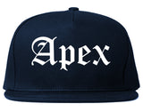 Apex North Carolina NC Old English Mens Snapback Hat Navy Blue
