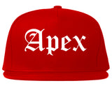 Apex North Carolina NC Old English Mens Snapback Hat Red