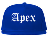 Apex North Carolina NC Old English Mens Snapback Hat Royal Blue