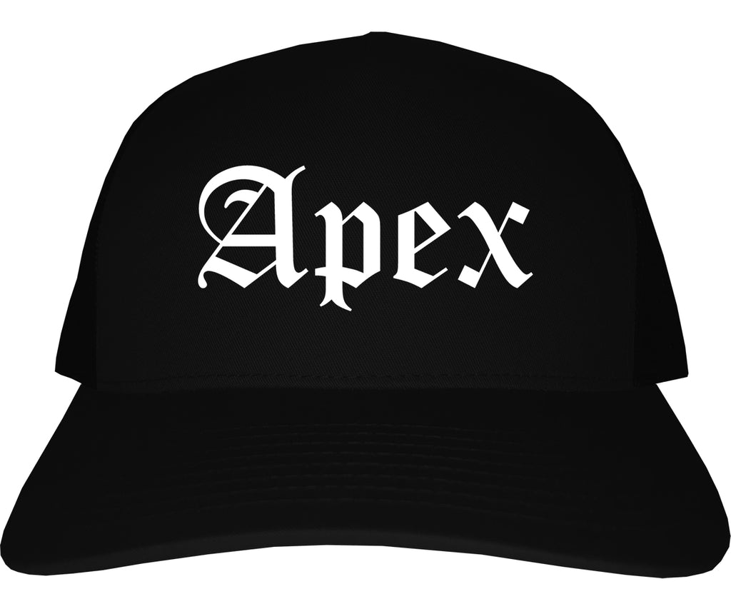 Apex North Carolina NC Old English Mens Trucker Hat Cap Black