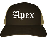 Apex North Carolina NC Old English Mens Trucker Hat Cap Brown