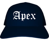 Apex North Carolina NC Old English Mens Trucker Hat Cap Navy Blue