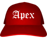 Apex North Carolina NC Old English Mens Trucker Hat Cap Red