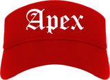 Apex North Carolina NC Old English Mens Visor Cap Hat Red
