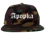 Apopka Florida FL Old English Mens Snapback Hat Army Camo