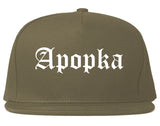 Apopka Florida FL Old English Mens Snapback Hat Grey