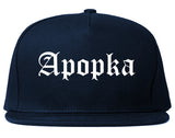 Apopka Florida FL Old English Mens Snapback Hat Navy Blue