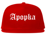 Apopka Florida FL Old English Mens Snapback Hat Red
