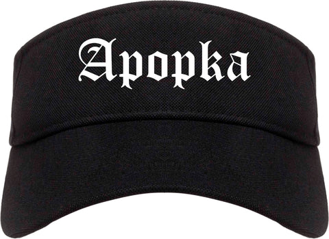 Apopka Florida FL Old English Mens Visor Cap Hat Black