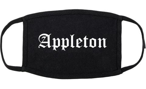 Appleton Wisconsin WI Old English Cotton Face Mask Black