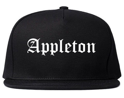 Appleton Wisconsin WI Old English Mens Snapback Hat Black