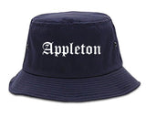 Appleton Wisconsin WI Old English Mens Bucket Hat Navy Blue